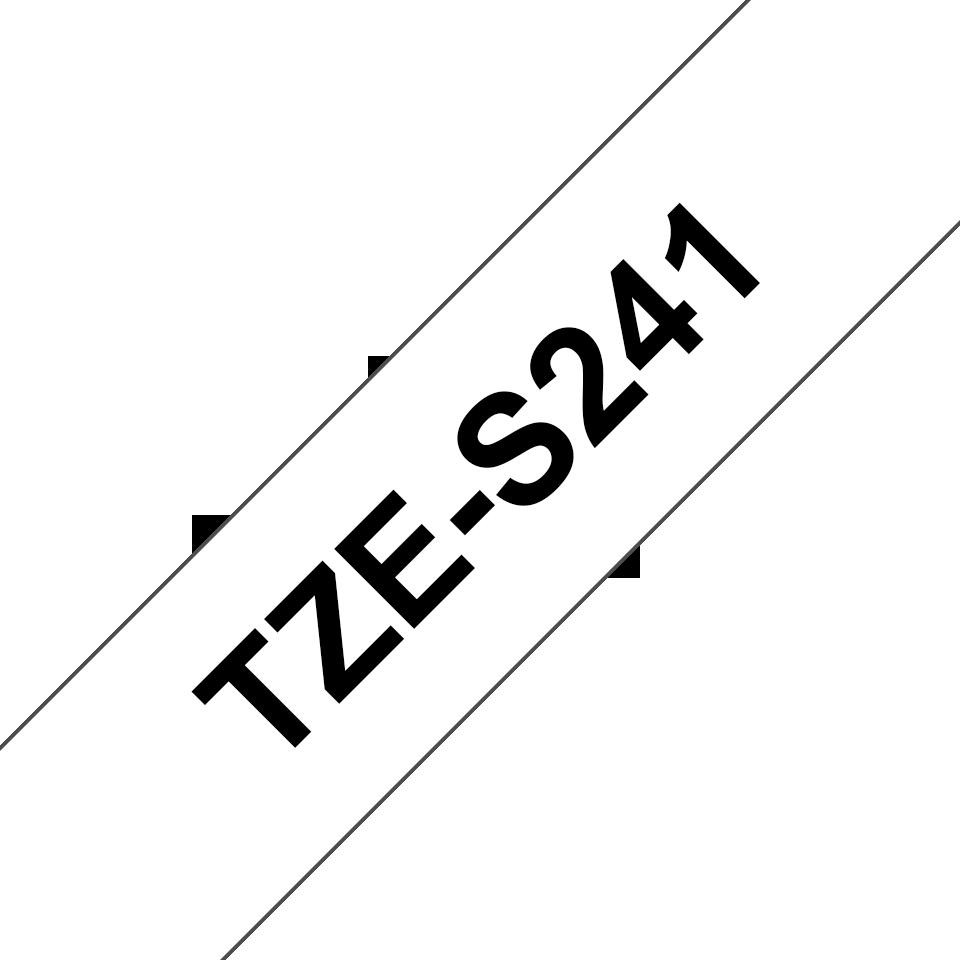 Brother P-touch TZeS241 sort på hvit 18 mm bred merketape med ekstra sterkt lim