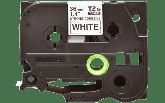 Oryginalna laminowana taśma z mocnym klejem TZe-S261 firmy Brother – czarny nadruk na białym tle, 36mm szerokości 2