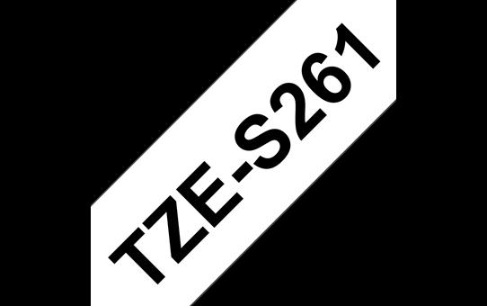 Original Brother TZeS261 merketape – sort på hvit med sterkt lim, 36 mm bred