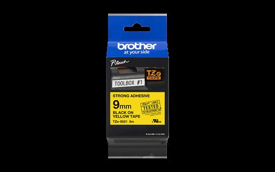 Brother TZeS621: оригинальная кассета с лентой с мощной клейкой поверхностью для печати наклеек черным на желтом фоне, ширина: 9 мм. 2