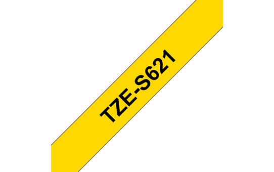 Genuine Brother TZe-S621 Labelling Tape Cassette – Black on Yellow Strong Adhesive, 9mm wide