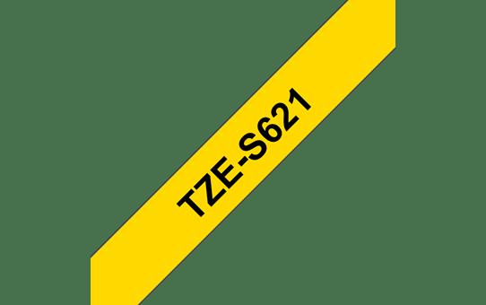 Original Brother TZeS621 merketape – sort på gul med sterkt lim, 9 mm bred