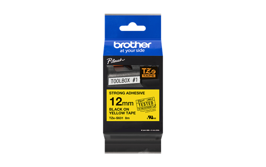Genuine Brother TZe-S631 Labelling Tape Cassette – Black on Yellow, 12mm wide 2
