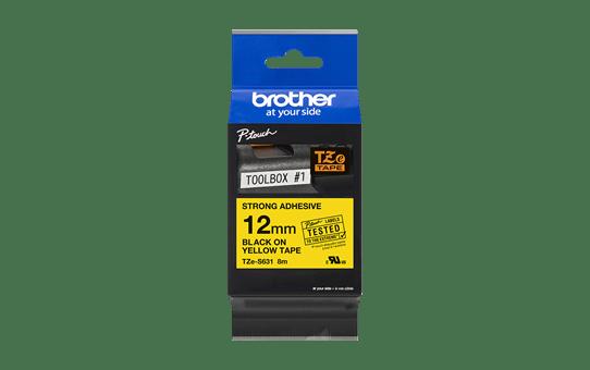 Original Brother TZeS631 merketape – sort på gul med sterkt lim, 12 mm bred 3
