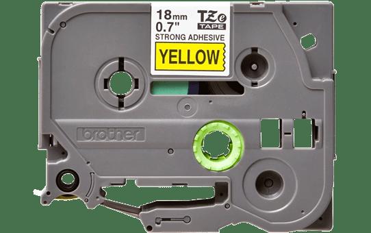 Brother TZeS641: оригинальная кассета с лентой с мощной клейкой поверхностью для печати наклеек черным на желтом фоне, ширина: 18 мм.