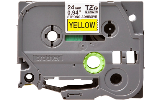Originele Brother TZE-S651 sterk klevende label tapecassette - zwart op geel, breedte 24 mm 2