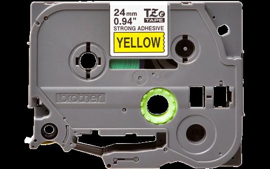 Oryginalna laminowana taśma z mocnym klejem TZe-S651 firmy Brother – czarny nadruk na żółtym tle, 24mm szerokości 2
