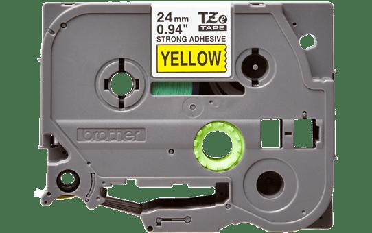 Original Brother TZeS651 merketape - sort på gul med sterkt lim, 24 mm bred 2