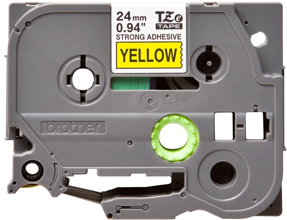 Brother TZeS651: оригинальная кассета с лентой с мощной клейкой поверхностью для печати наклеек черным на желтом фоне, ширина: 24 мм.