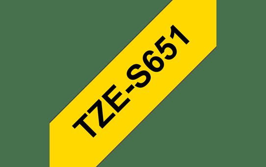 Cassette à ruban pour étiqueteuse TZe-S651 Brother originale – Noir sur jaune, 24mm de large 3