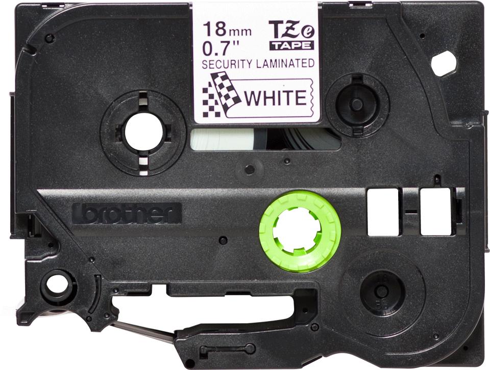 Originele Brother TZe-SE4 veiligheidstape – zwart op wit, breedte 18 mm 2