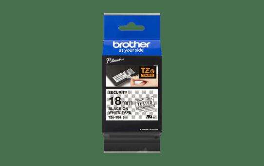 Originele Brother TZe-SE4 veiligheidstape – zwart op wit, breedte 18 mm 3