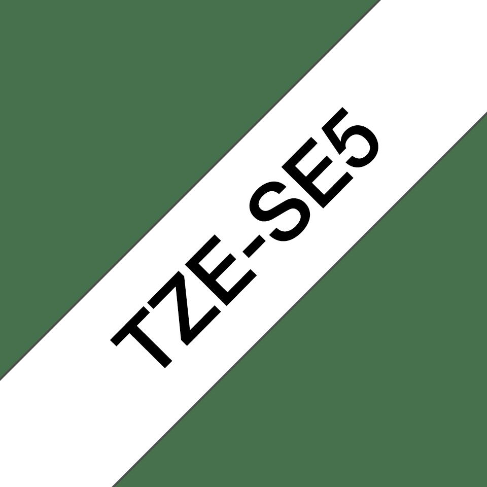 Originele Brother TZe-SE5 veiligheidstape – zwart op wit, breedte 24 mm 2