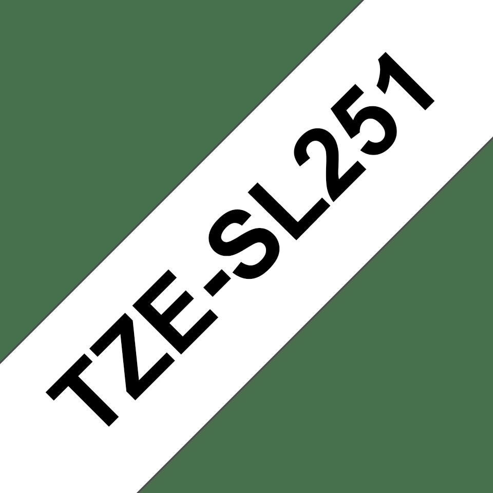 Originele Brother TZe-SL251 zelflaminerende label tapecassette - zwart op wit, breedte 24 mm