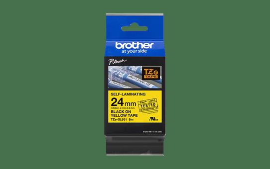 Originele Brother TZe-SL651 zelflaminerende label tapecassette - zwart op geel, breedte 24 mm 3