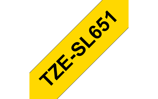 Genuine Brother TZe-SL651 Self-Laminating Labelling Tape Cassette – Black on Yellow, 24mm wide