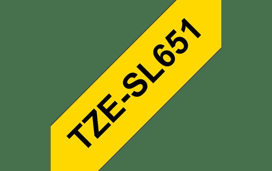 Originele Brother TZe-SL651 zelflaminerende label tapecassette - zwart op geel, breedte 24 mm