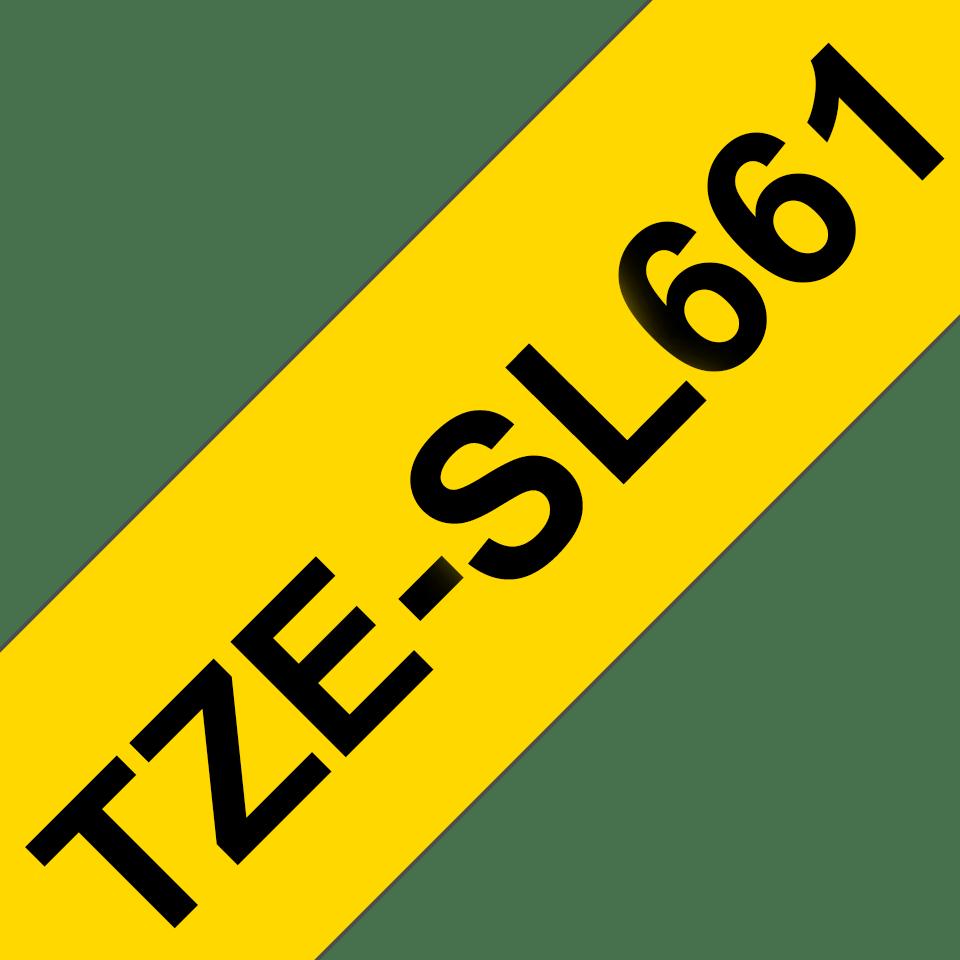 Originele Brother TZe-SL661 zelflaminerende label tapecassette - zwart op geel, breedte 36 mm