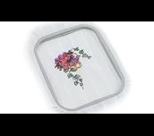 Bloemenborduurwerk op witte stof in Brother EF62 borduurraam