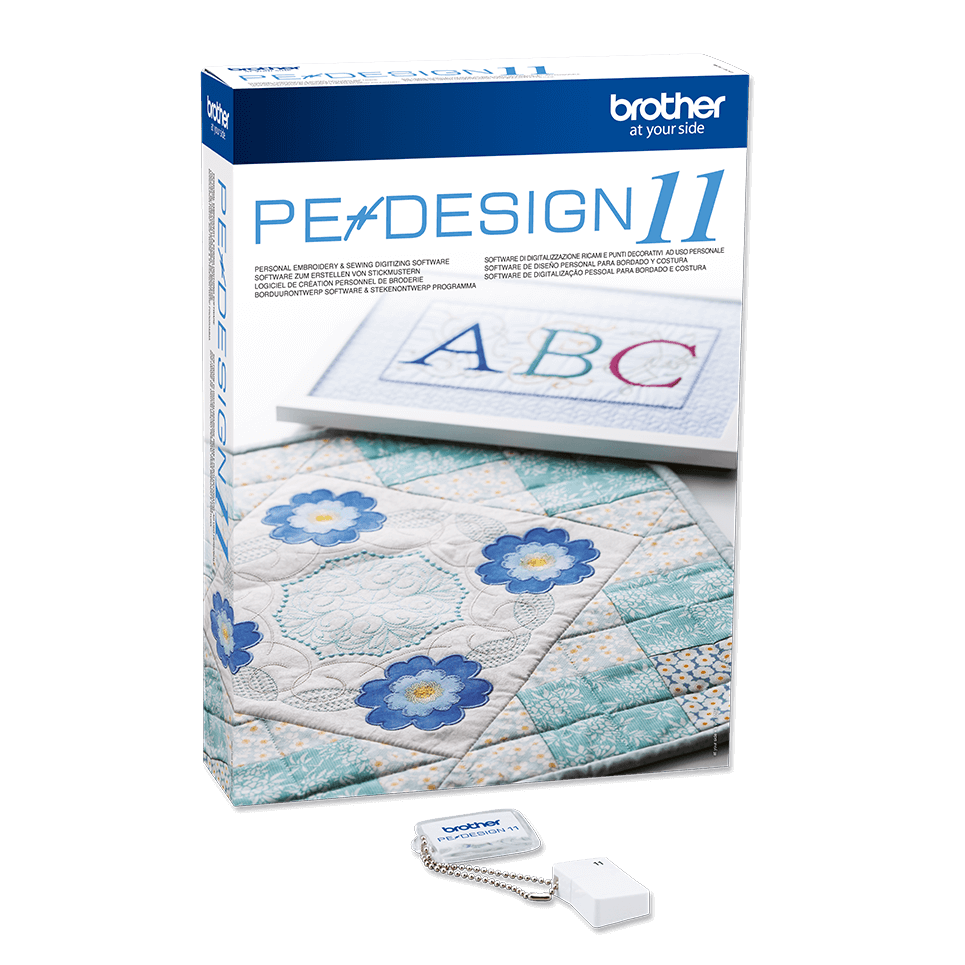 PE Design 11 embroidery digitizing software with USB dongle